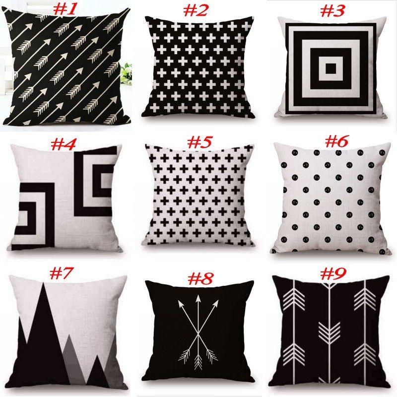 Schwarz und Weiß Muster Kissenbezug Baumwolle Leinen Kissenbezug Gedruckt Geometrie Euro Kissenbezüge 18x18 Zoll 22 Farben