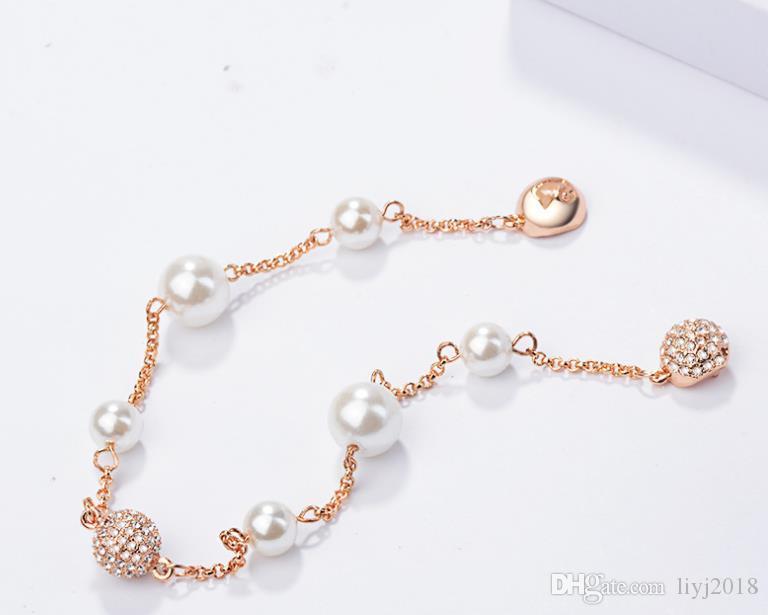 New Shijia Invisible Bracelet magnétique Boucle perle perle d'eau douce naturelle Bracelet en or rose
