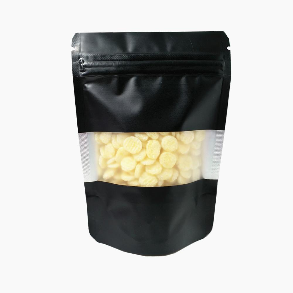 Встать алюминиевая молния уплотнительная сумка матовый четкий пластиковый окно черная zip mylar фольга пакет пакет сумка doypack кофе закуски чаевые мешочки