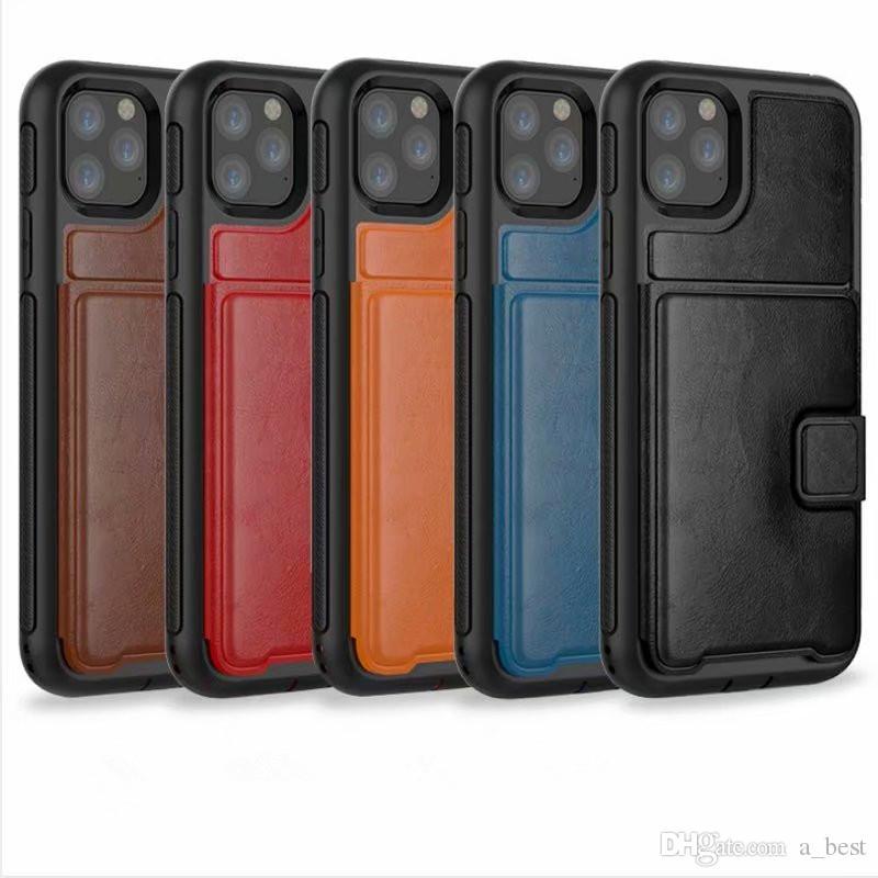Para iPhone 11 Pro Max XS XR X 8 7 Plus Couro Phone Case Três Carteira Caso Anti-móvel tampa do porta com slot para cartão