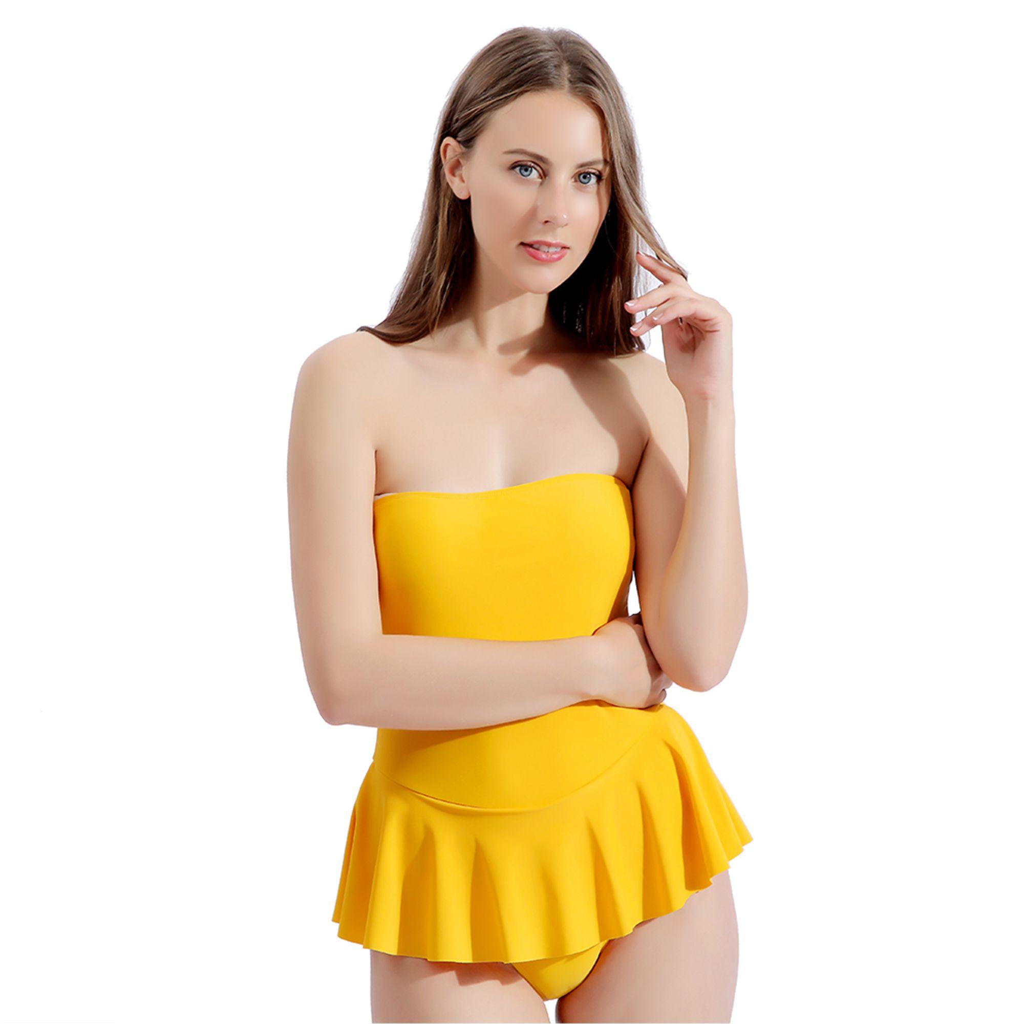 Femmes Maillot une pièce sexy Off épaule Beachwear froncé Flounce Couleur vive sans bretelles Tummy contrôle jupette jaune