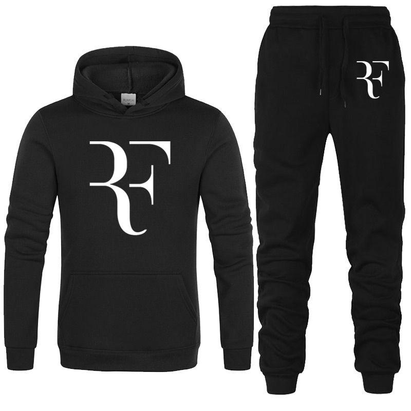 2 Parça Eşofman Moda Roger Federer RF Baskı Hoodies + pantolon Erkekler Rahat Hip Hop Erkek Hoodie Tişörtü Adam Hoody giyim