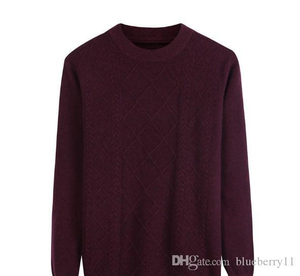 Suéter de lana pura de otoño para hombre Jersey de cuello redondo para hombre Camisa de punto de punto Jacquard Suéter coreano delgado para hombre Hombre
