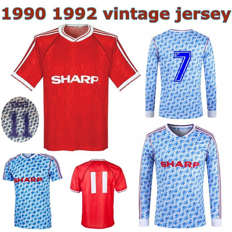 1990 camisa de futebol clássico 1992 Bryan Robson Giggs Ince Hughes camisa retro de futebol 1991 Bruce McClair Denis Irwin do vintage