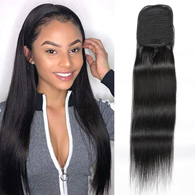 Düz ponytails 100g / adet Brezilyalı İnsan Saç Uzantıları İpeksi Düz Pony Tail 8-24inch Doğal Renk