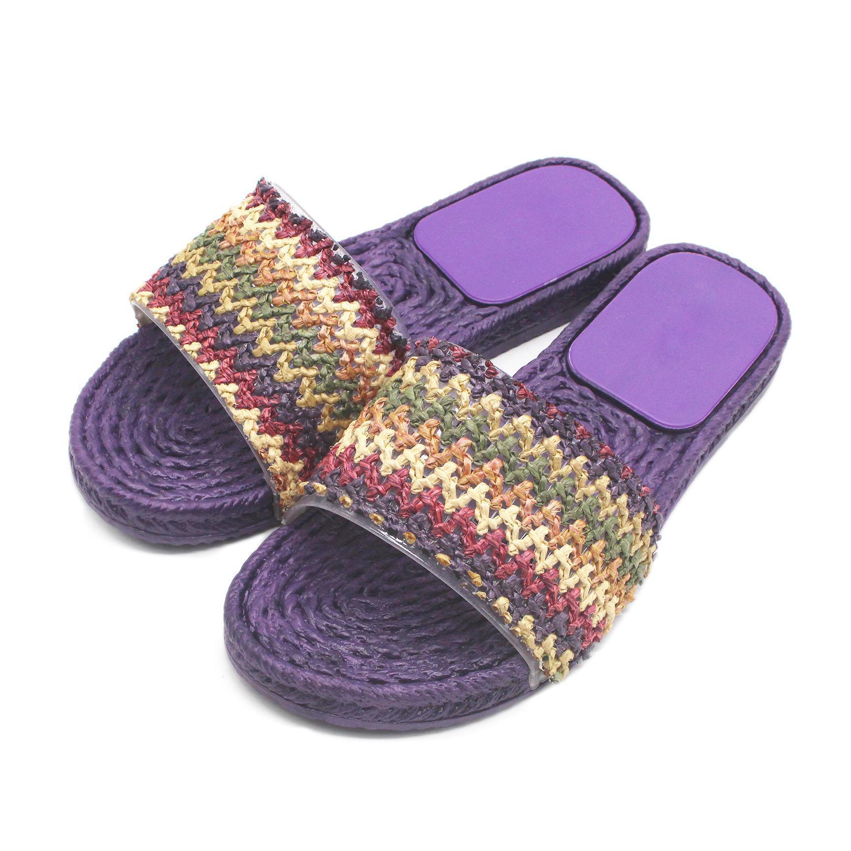 Verão Chinelos Weaving Sandals Mulheres Sapatos Indoor Chinelos Flip Flops banheiro piso Chinelo Shoes Moda Mulher Slides