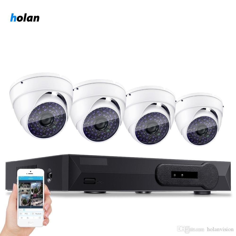 Holan Sorveglianza HDMI 4CH AHD 1080N DVR HD Giorno Notte 1800TVL 24IR impermeabilizza la macchina fotografica interna CCTV casa Sistemi di sicurezza