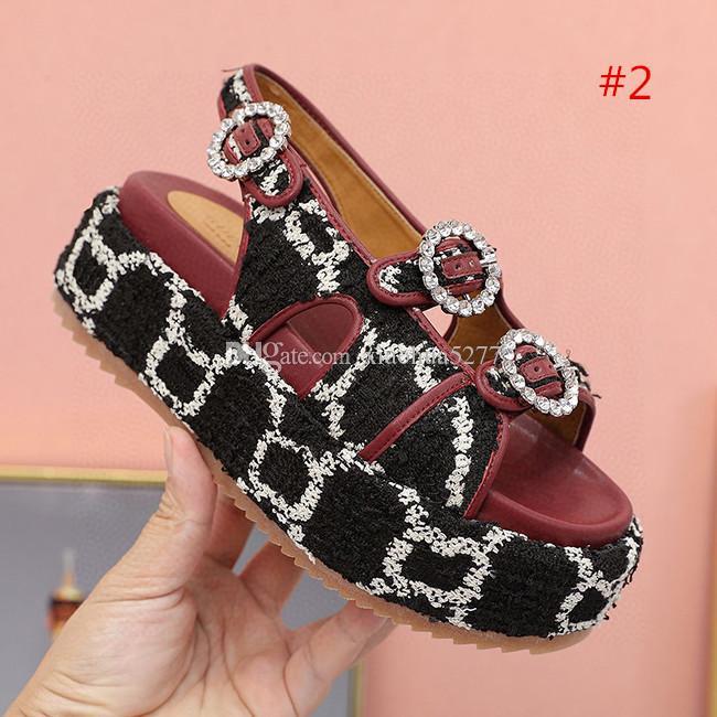 2020 la mode de haute qualité nouveau type de sandales lettre fond épais pour les femmes Sandales de talons hauts d'été Leopard Slides Chaussures Femme