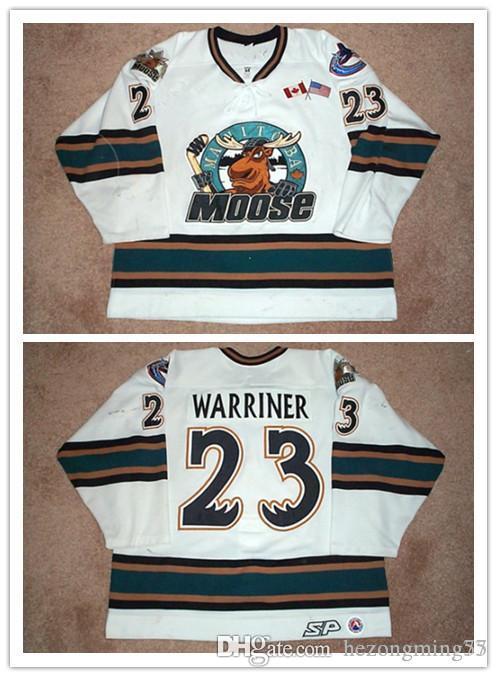 2001 02 Manitoba Moose 23 Hokeyi Jersey Nakış Dikişli özelleştir gerileme Todd Warriner beyaz Mens Retro herhangi numarası ve adı formaları