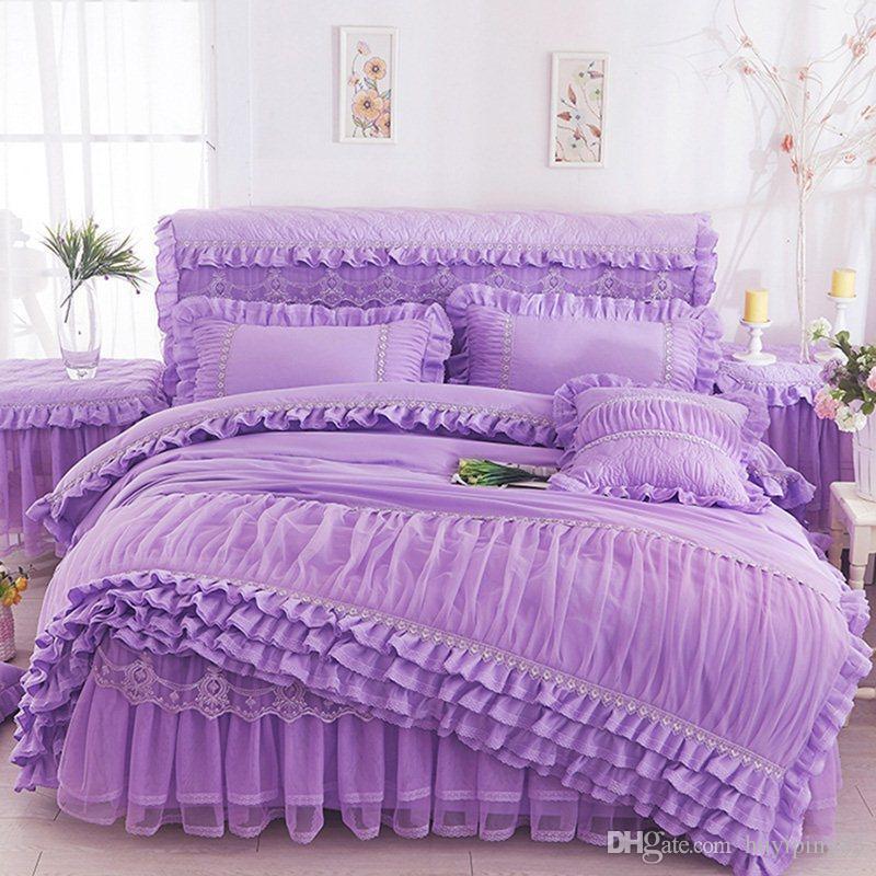 Rosa bege roxo laço princesa conjunto de cama rei rainha 4 pcs ruffles esfera cama saia casamento capa cama chapa cama / linho fronhas