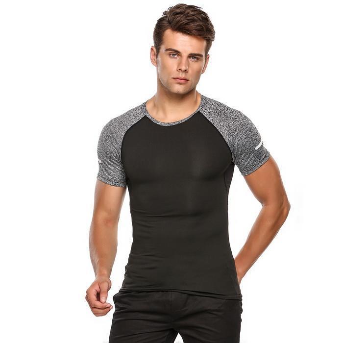 Uomini manica corta bicolore a contrasto di colore Wicking asciutto rapido respirabile Maglietta