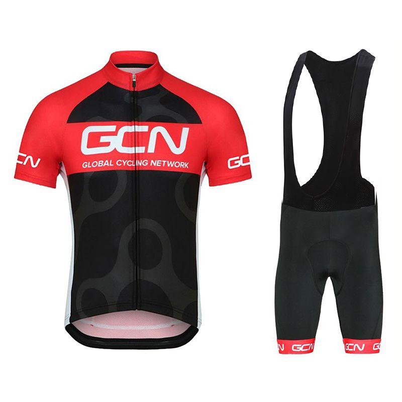GCN 사이클링 저지 2020 프로 팀 남성 / 여성 여름 통기성 사이클링 의류 턱받이 반바지 키트 로파 Ciclismo 설정