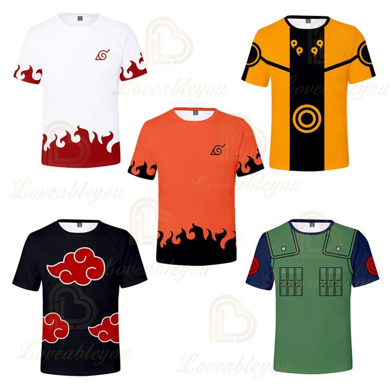 Japanische Hot Anime Naruto 3D-Druck-T-Shirt Männer Hip Hop Street T Shirt Boys 5 Farben kühle Kleidung Man Tops