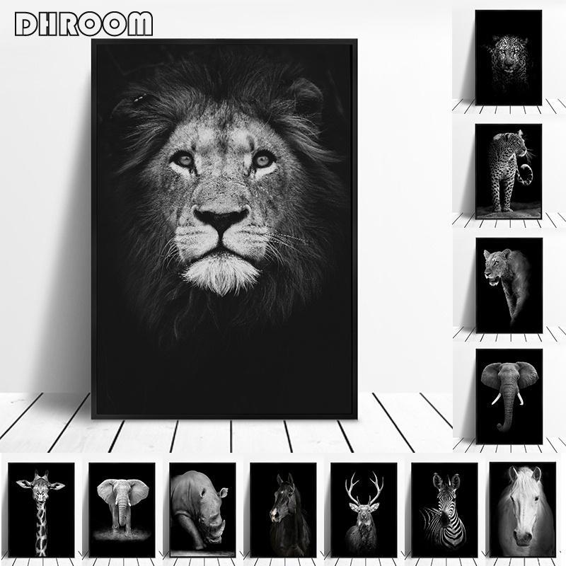 Salon Dekorasyon Ev Dekorasyonu için Hayvan Wall Art Aslan Fil Geyik Zebra Posterler ve Baskılar Duvar Resimleri Boyama Tuval