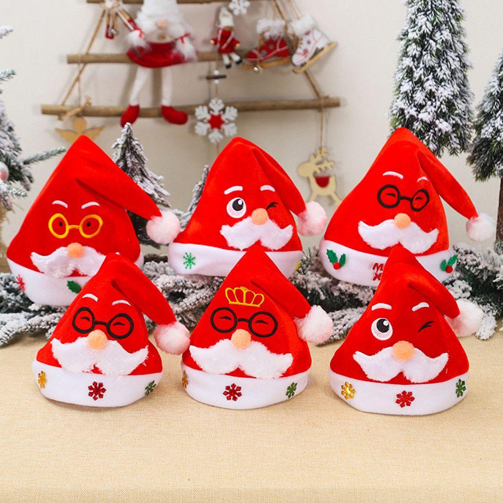 Erwachsene Kinder Weihnachten Hut Santa Cap Weihnachten Rollenspiele Urlaub Xmas Party-Hut-Kappen-DIY Dekorationen für Zuhause # 10
