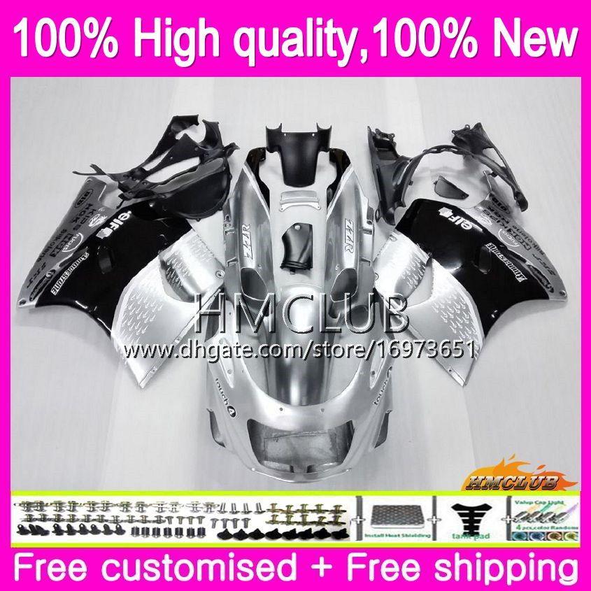 Body For KAWASAKI ZX-11R ZZR 1100 CC ZX11R 93 94 95 96 97 52HM.4 ZZR1100 ZZR-1100 ZX 11R 1993 1994 1995 1996 1997 Fairing Silvery black kit