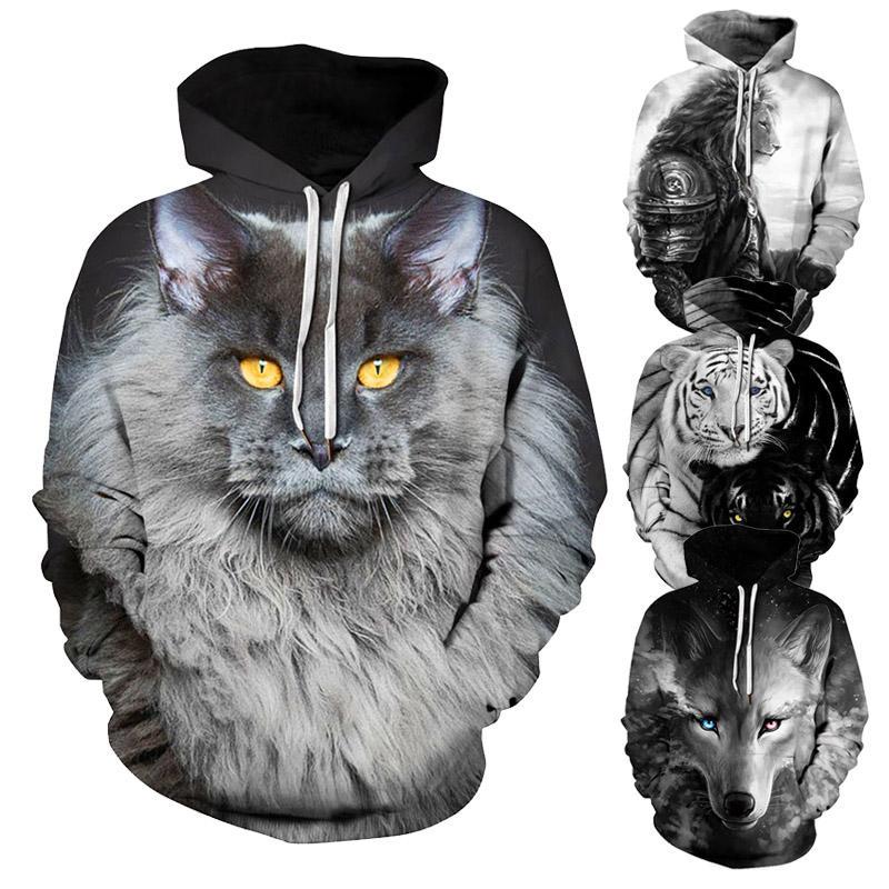 unisex hoodies sweatshirts black 3d printed animal couple hoodies boys Casual wolf tiger designer sweatshirt pullovers Plus Size