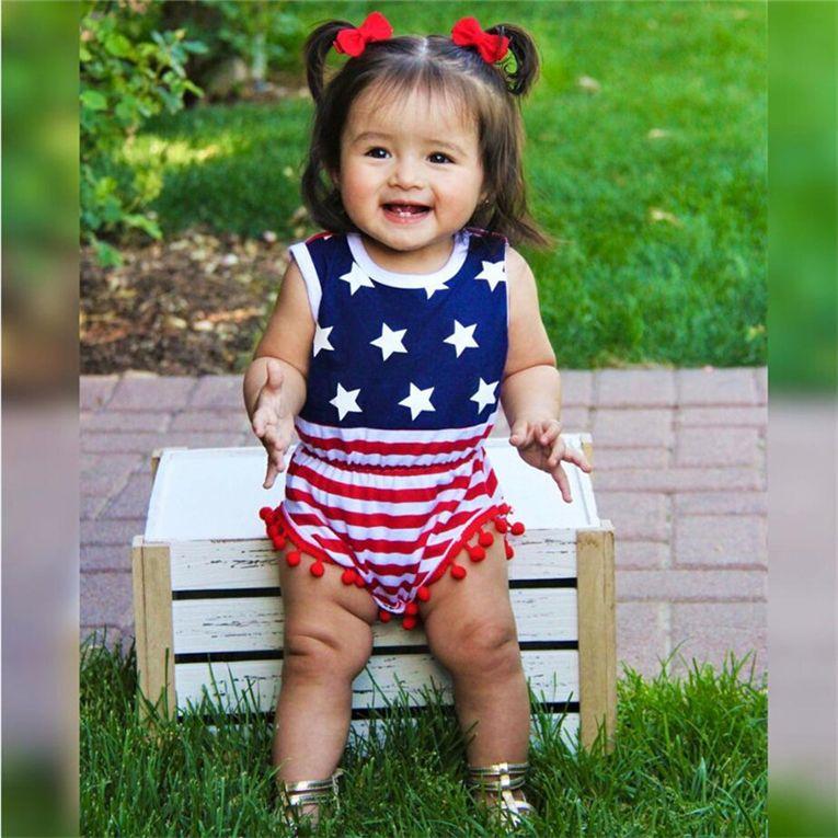 الصيف طفل الملابس لطيف طفل الفتيات أكمام الولايات المتحدة الأمريكية أيام الاستقلال عموما hairbands الرضع قطعتين مجموعات أحمر مخطط حللا D6415
