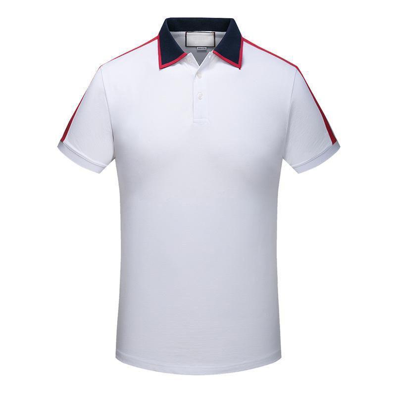 Trova simile Camicia cotone degli uomini di Uomini 2020 Office Business Abbigliamento Uomo Top Turn-down Collar manica corta maschile Polo Wear