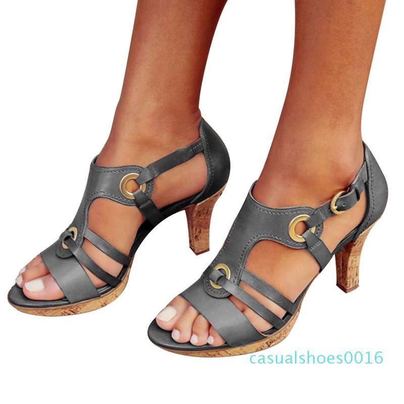 Zapatos de la mujer del nuevo del verano sandalias del dedo del pie abierto retro hebilla Mujer Sandalias de Spike señoras del talón de los zapatos c16 Mujer