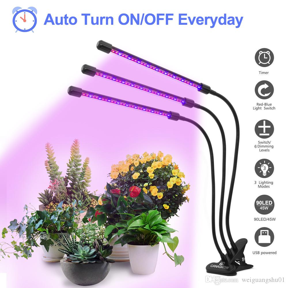 CANAGROW Three Head Led Grow Light Clip Base 45W 90 LEDs Dimmable Plant Growing Lamp for Office Indoor Greenhouse Plants Herbs