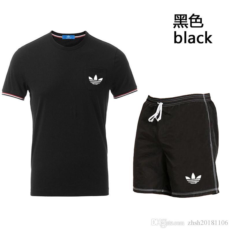 Verão Dos Homens Treino Impresso Homens T-shirt Gola V-NeckSho rt Mangas Pullover Com Calça Casual Jogger Ternos Homme Sportsuit 4