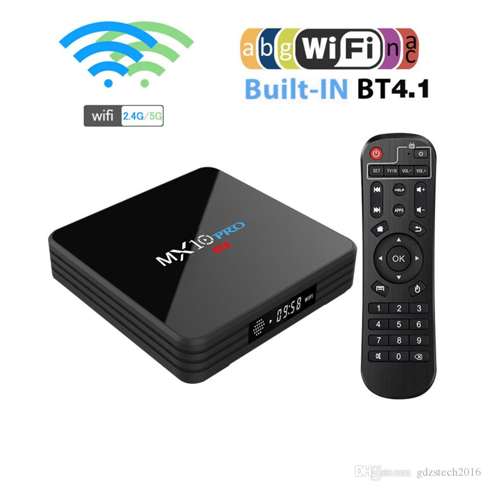 High quality android 9.0 TV BOX MX10 PRO RK3318 Quad-core 4GB/32GB 2.4G/5.8GWIFI HDMI&USB3.0 bluetooth H.265 smart set top box kdx