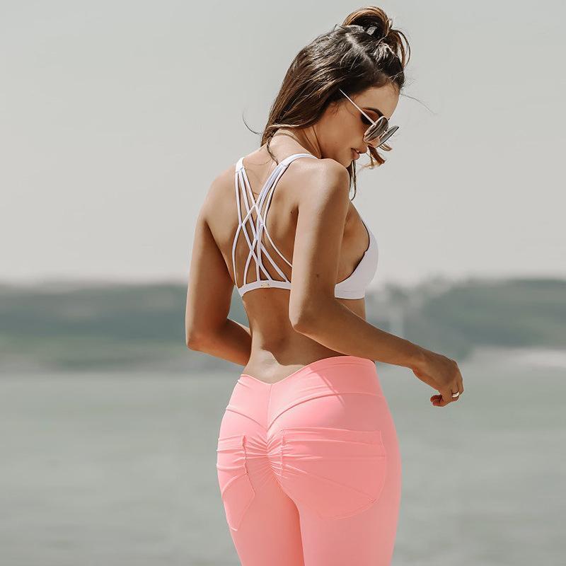 Mujeres Scrunch Butt Leggings para Fitness Hip Pocket Entrenamiento Leggings deportivos Push Up Pantalones pitillo Causal Pantalones Slim Black