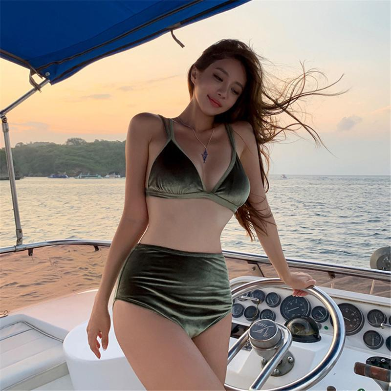 Seksi Yüksek Bel Bikini Kadınlar Katı Mayo Kadife Mayo Push Up biquini Pedler Bikini Kore Stil Mayo Yeşil Parlak