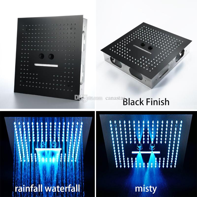 Remote Control Light 64 Color Change Rain Led Shower Head 16 Inches Bathroom Black Finish LED Showerhead Misty Waterfall Shower Ceiling
