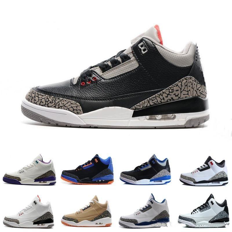 2019 Retro Katrina 3s Quai 54 homens nike Jordan Jordans air jordan jordans retro Retro 3 Tinker JTH Branco Puro Preto Cimento Internacional Linha de Lançamento Livre Linha de sapatos casuais 8-13