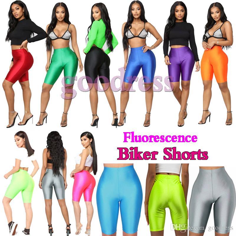 Glossy fluorescenza Biker Shorts donne ghette raso al neon aderente breve estate Tuta alta vita sottile elastica Streetwear moda