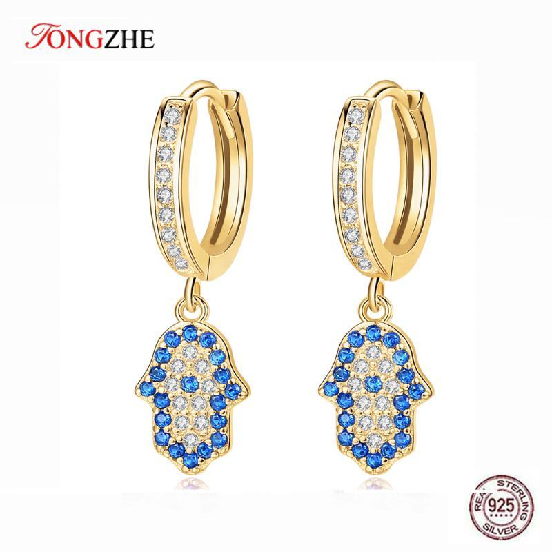 TONGZHE Pure 925 Sterling Silver Hamsa Hand Drop Earrings for Women Blue Evil Eye Lucky Earring CZ Turkish Jewelry Girl Gift