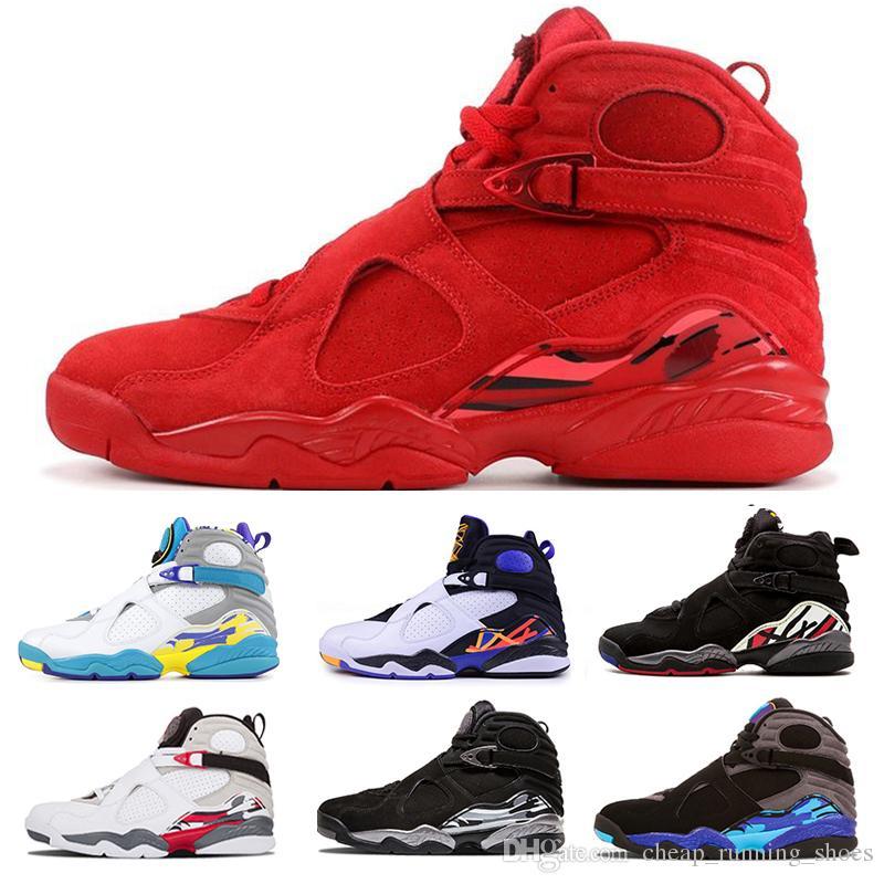 Dia Red Nova Namorados 8 VII 8s homens tênis de basquete do Aqua Chrome CONTAGEM REGRESSIVA PACK homens exteriores Sneakers Esportes Tamanho US 7-13