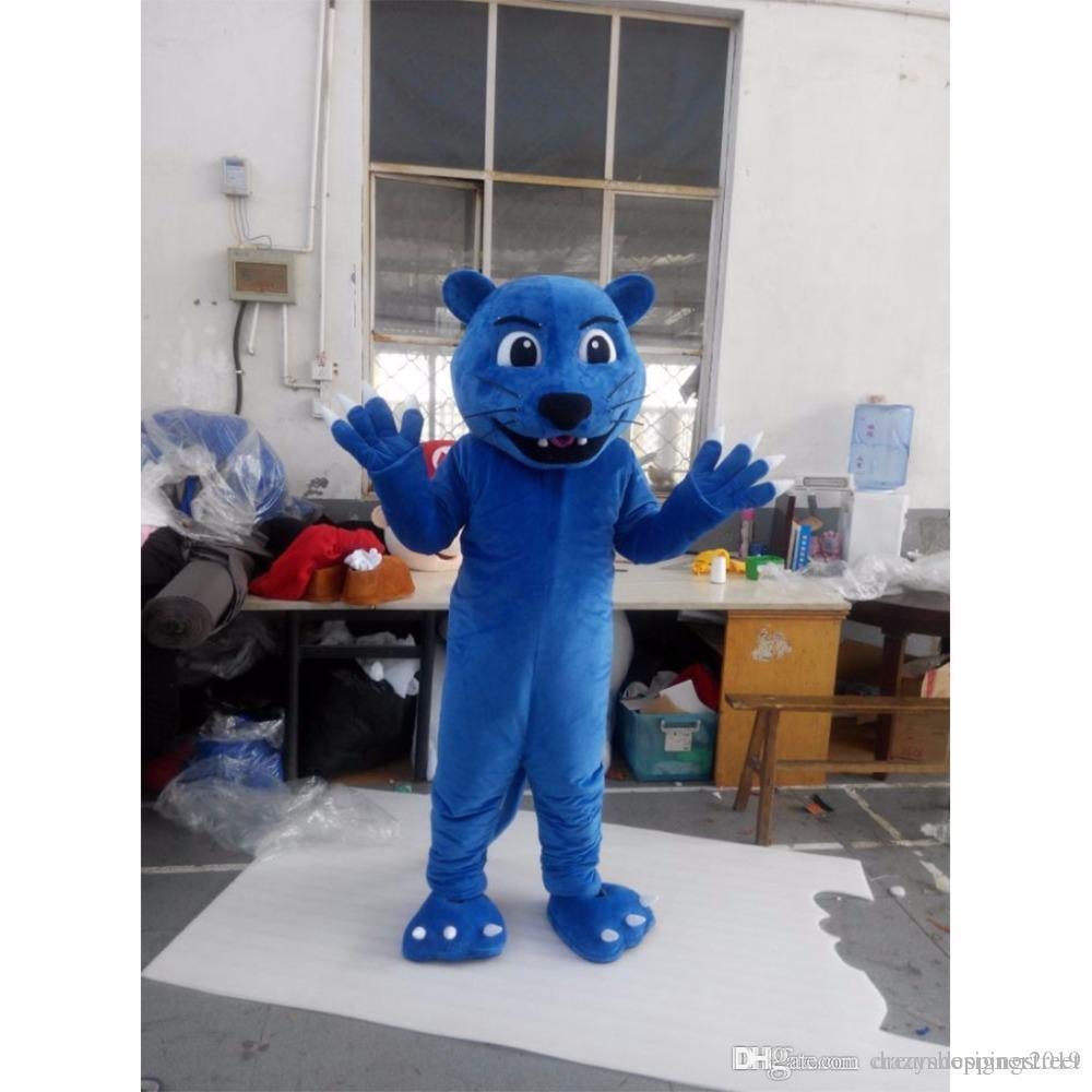 Halloween Blue Panther traje de la mascota de alta calidad de dibujos animados leopardo Animal Anime tema personaje carnaval de la navidad trajes de fiesta
