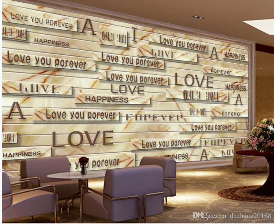 벽 벽지 3D 거실 3D 솔리드 대리석 나뭇결 편지 향수 레트로 TV 배경 벽