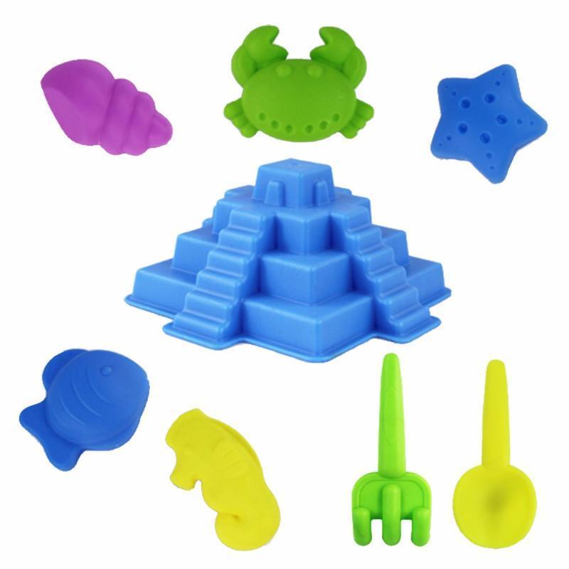 Пляж игрушки набор 8шт Творческий Sandbeach Пляж морепродуктов замок Модель насадками игрушек Песочные игры Детские игрушки для детей новое падение корабля