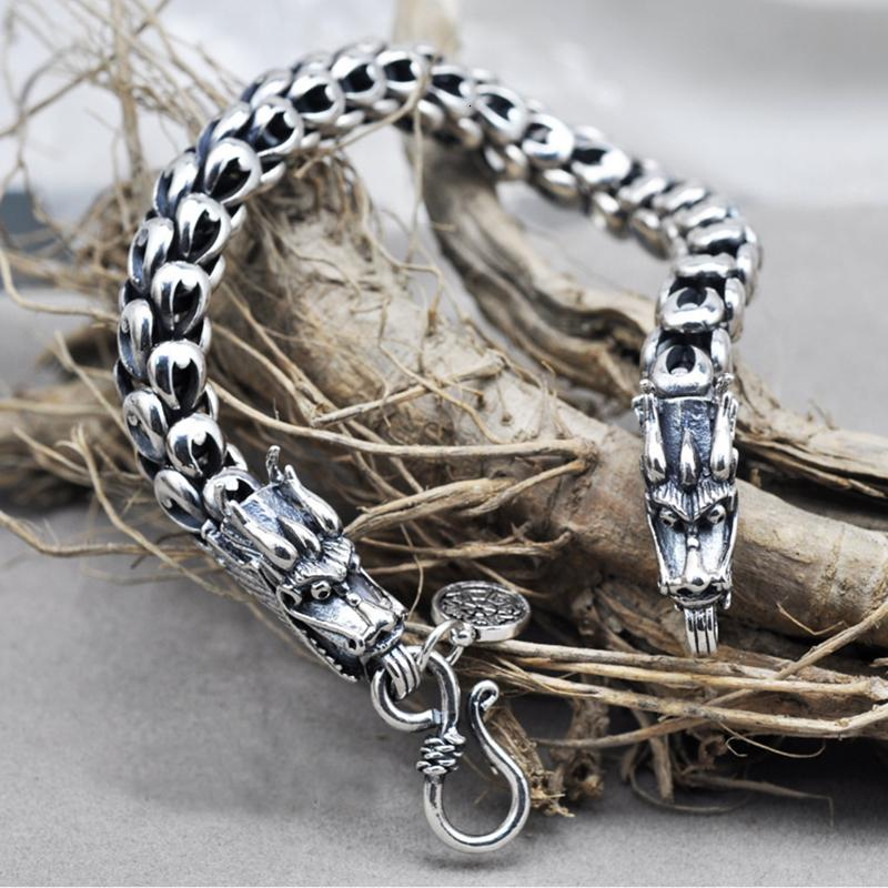 Dragon Scale Bracelet Chain Real Pure 925 Sterling Silver Double Heads Vintage Punk Rock Retro Style Men Jewelry SH190925
