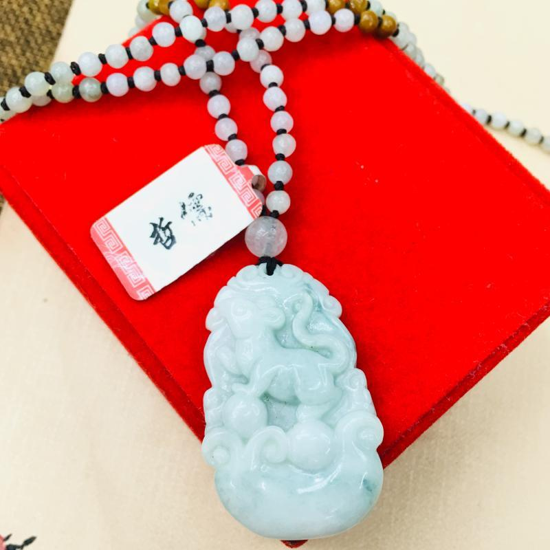 Natural birmanês Emerald Jade Carving Rato do zodíaco pingente com Handmade Tricolor Bead colar de homens e mulheres cadeia camisola