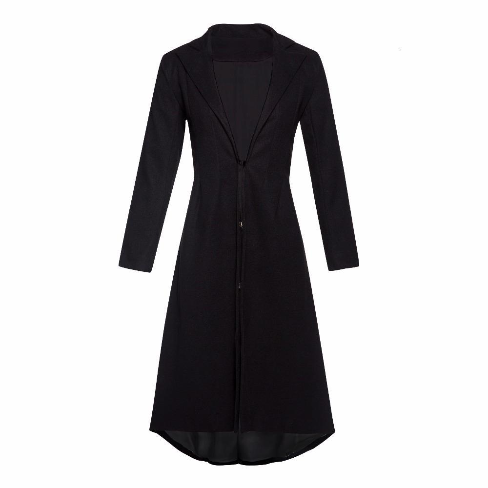 Siyah Astar Uzun Yün Coat Kadınlar Ofisi Artı boyutu Kış Sıcak Sıska Bayanlar Basit Zarif Casual Paltolar Y191102 Wear