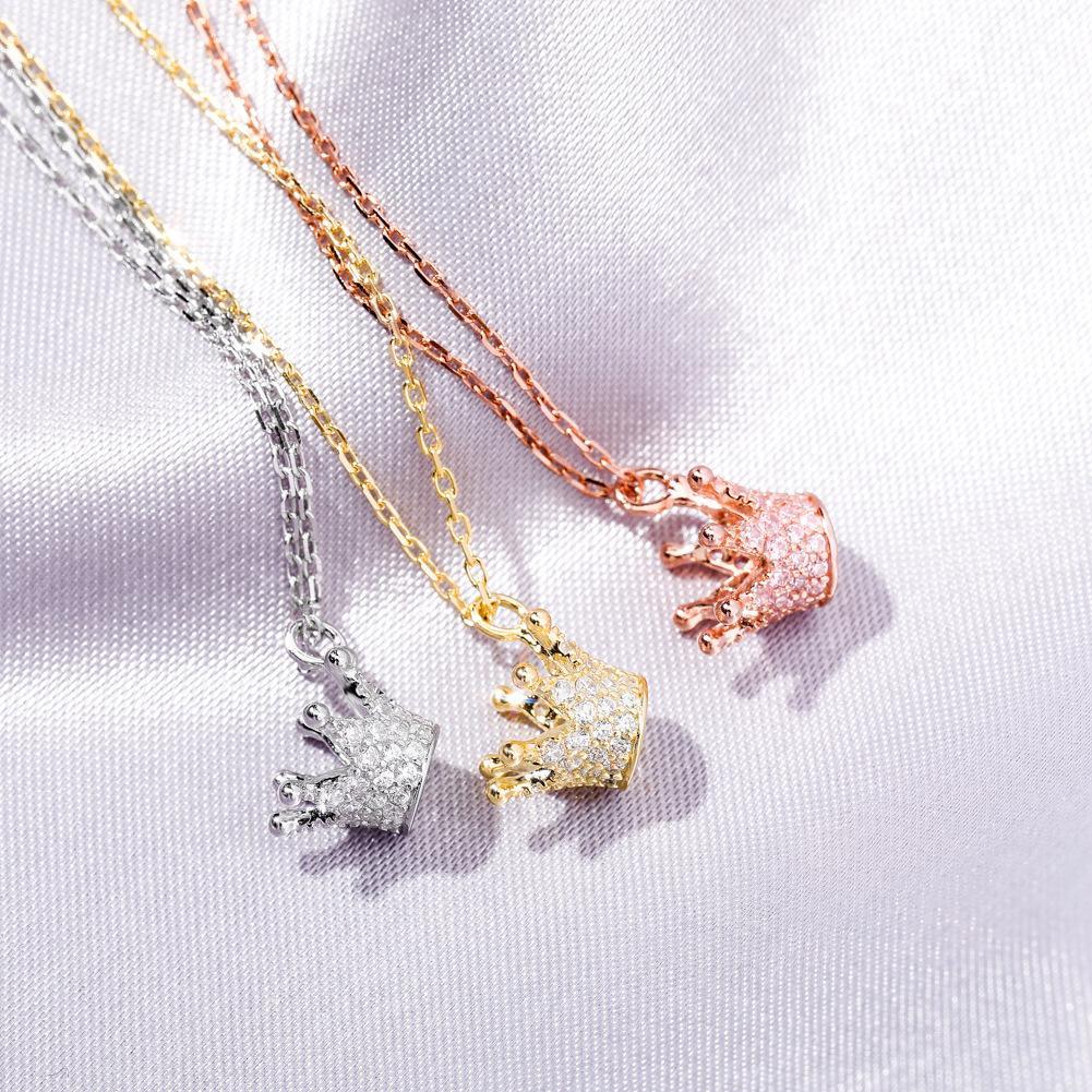 Argent 925 Princesse Bijoux délicat d'or de haute qualité de la mode Pendentif Couronne Lady Collier Fashion