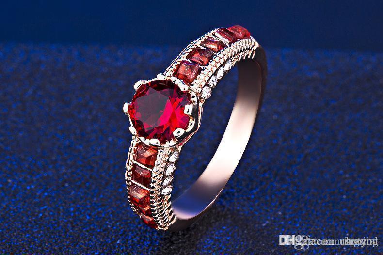 Hotyou luxe Argent 925 Brillant Coeur Cristal anniversaire Gem Bague Lovers pour les femmes des hommes de cadeau de mariage bijoux à la mode