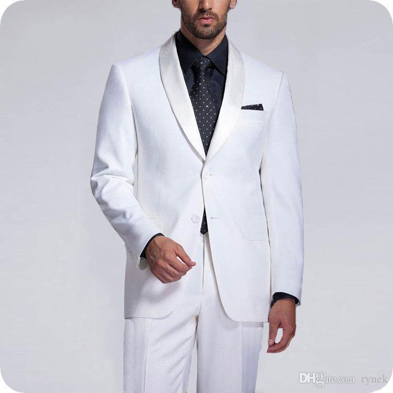 White Groom Tuxedos Men Suits for Wedding Best Man Blazers Shawl Lapel Smoking Jacket 2piece Prom Party Handsome Groomsmen Jacket Pants