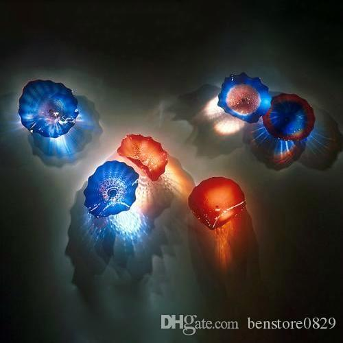 Murano Glass Wall Art Plates Hot Sale Handmade Blown Glass Art Flower Plates Elegant Tiffany Stained Glass Wall Lamps