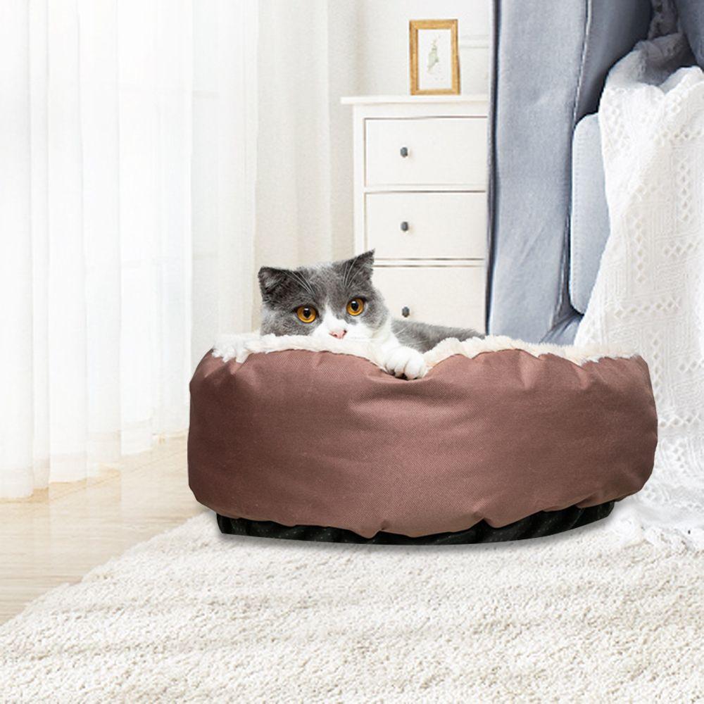 Chien Chat lit doux et chaud Nest Round Brown