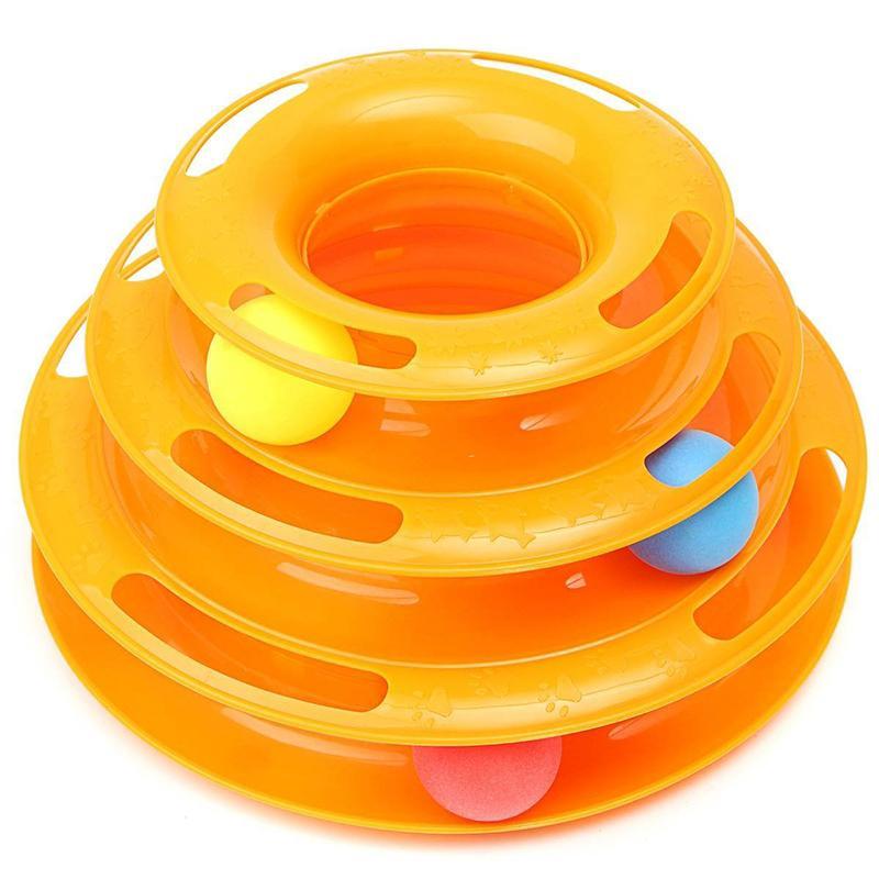 Jeux balle labyrinthe de jouets 3 couches en plastique pour Chien Chat d'orange