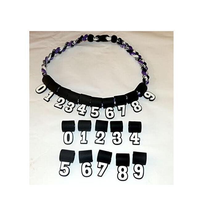 silicona digitales Número colgante 0-9 para el collar de titanio de béisbol softball
