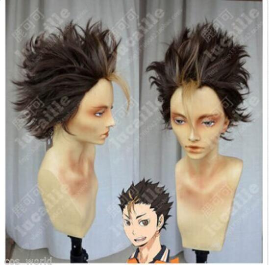LZT Anime Haikyuu!!Perruque de cheveux synth/étiques /à haute temp/érature mixte jaune et noire de 13 pouces pour Kozume Kenma avec capuchon de perruque inclus