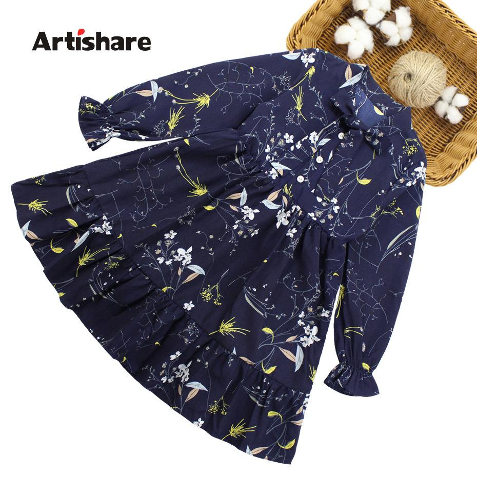 Kids Dresses For Girls Spring Autumn Vetement Children Girl Floral Pattern Dress Kids Teenage Clothes For Kids Girl 6 8 10 12 14