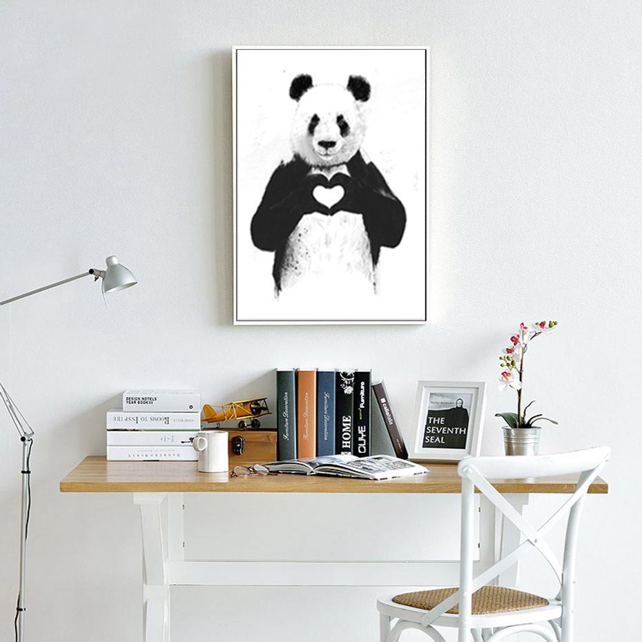2019 SURE LIFE Funny Boxing Panda Animal Banksy Canvas Prints Painting Nursery Wall Art Poster For Kids Room Home Decor From Huweilan $32 86